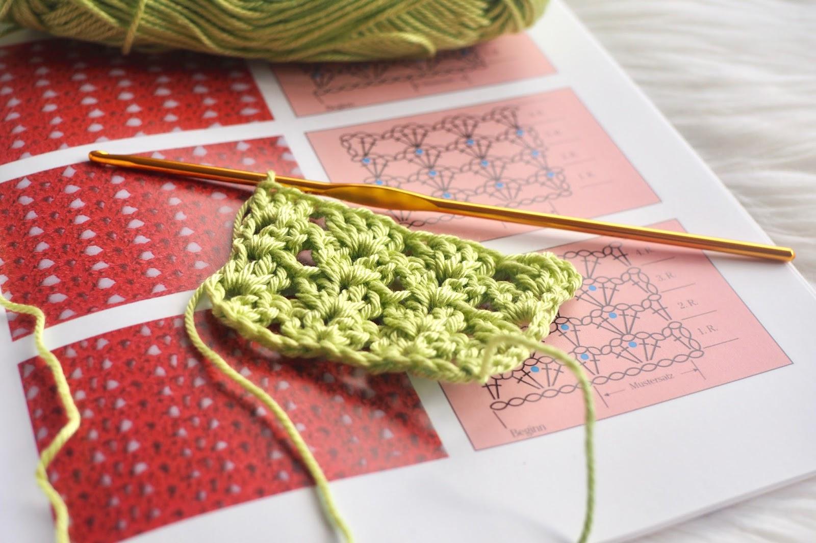 """Grünes gehäkeltes Muster aus dem Buch """"Häkeln. Der Grundkurs"""""""