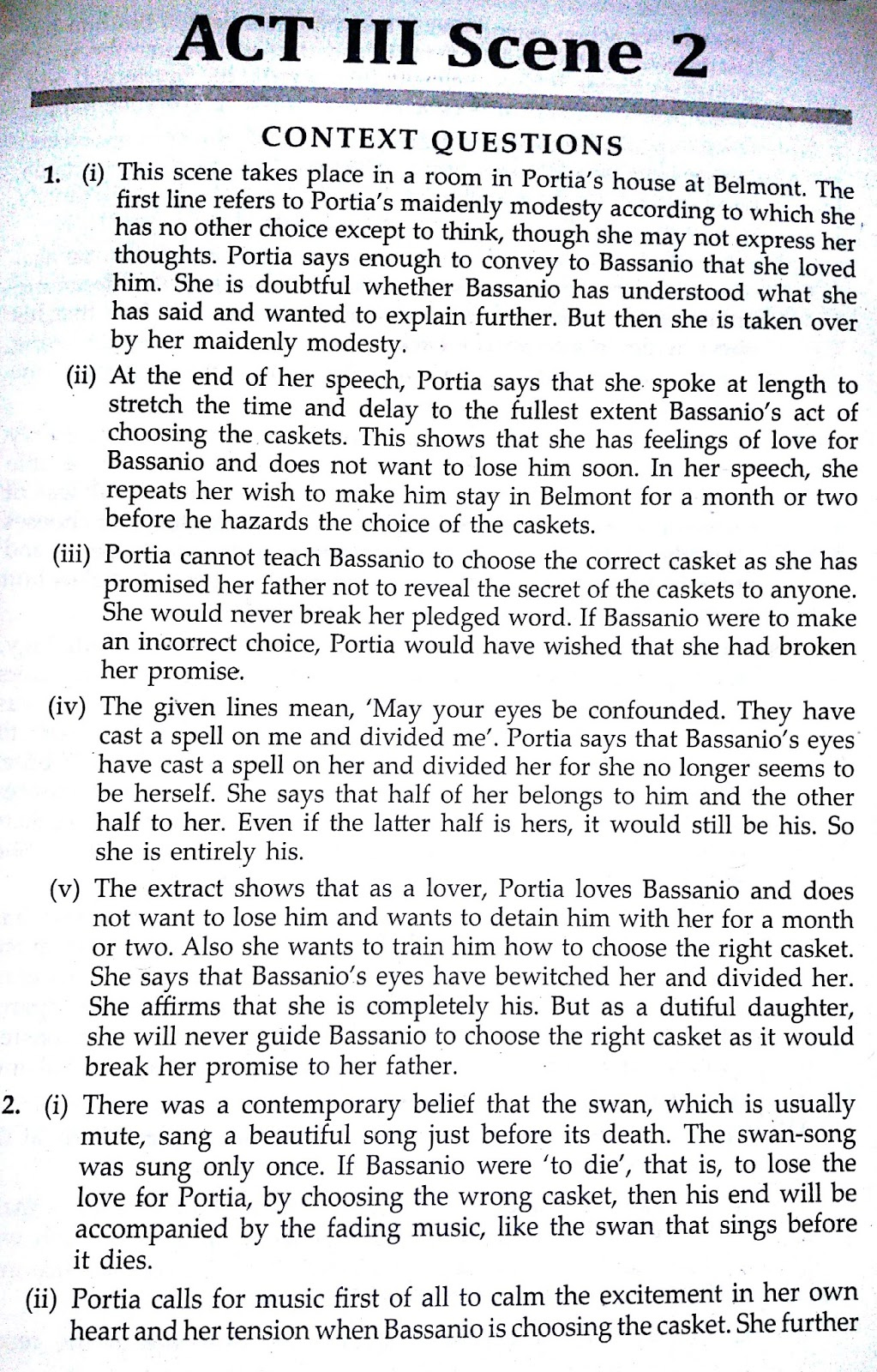 Workbook Answers/Solutions of The Merchant of Venice, Act 3 Scene 2