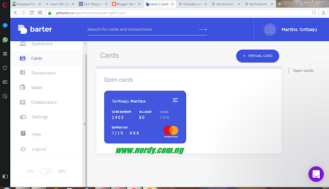 Barter Card: card balance after use