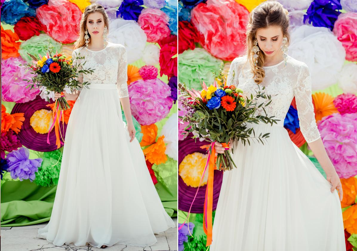 Zwiewna suknia ślubna w stylu boho chic.