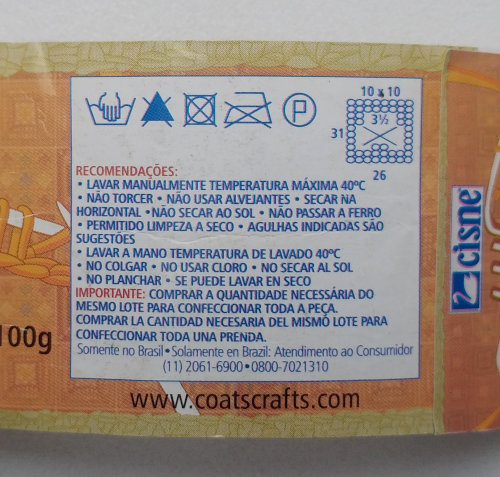 Instruções Lavagem Crochê Tricô 100% acrílico