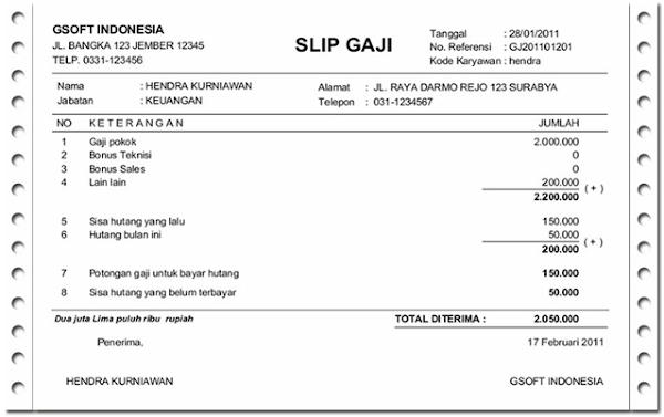 Contoh Slip Gaji Karyawan Terbaru Lengkap Dengan Rumus Exel
