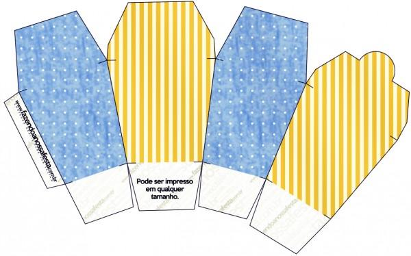 """Caja tipo """"de comida china""""de Corona Dorada en Azul y Amarillo."""