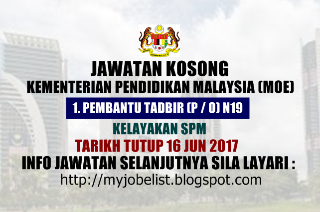 Jawatan Kosong Sebagai Kerani di Kementerian Pendidikan Malaysia (MOE) 2017