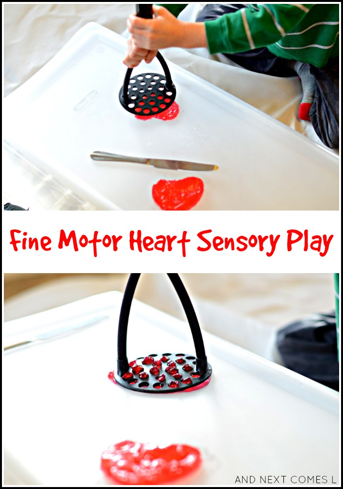 Fine motor gelatin heart-breaking sensory play for Valentine's Day from And Next Comes L