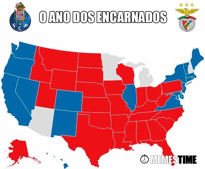 GIF Memes Time – Mapa eleitoral Americano com o domínio dos Republicanos com o emblema do Porto e do Benfica – O ano dos Encarnados (fotos base: bbc.com)
