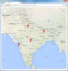 Web Online Course: Asp net Google Map Multiple Markers from