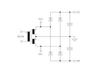 Diagrama do circuito de alimentação.