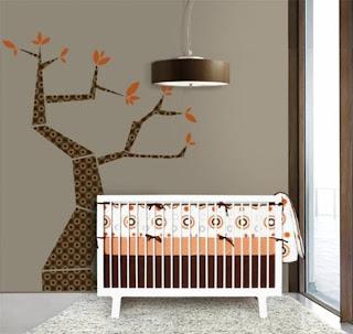 Dormitorio bebé marrón naranja