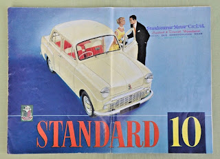 Stanbourne Motor Co Ltd address stamp on Standard10 brochure 1957