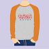 Kaos Raja Ampat - Raglan Panjang - Abu Misty Orange Muda