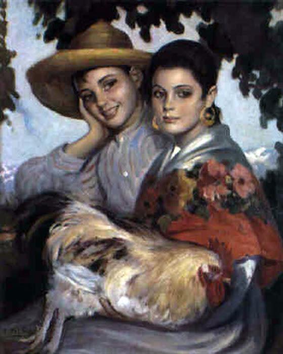 Jovenes campesinos, Victor Moya Calvo, Pintor español, Pintores Valencianos, Retrato de azules, Retrato de andaluza, Retratos de Victor Moya Calvo