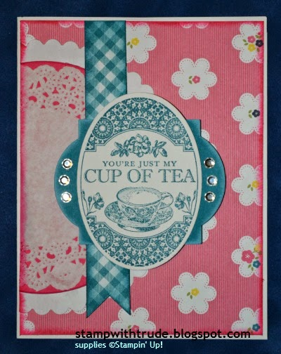 http://stampwithtrude.blogspot.com Stampin' Up! greeting card by Trude Thoman Tea Party stamp set