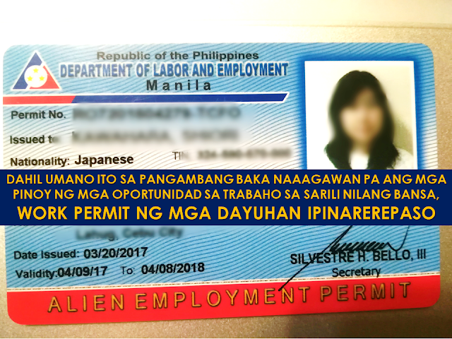 "It is said that the number of overseas Filipino workers (OFW) increase because Filipinos could not find decent jobs with adequate income so they are forced to apply for overseas jobs to provide for their family. Some of the reasons pointed out by many is the age requirement but the Department of Labor and Employment (DOLE) recently prohibited age limit requirements in job hiring among companies. However, the law says the hiring of foreign workers are only applied to jobs that Filipinos could not accomplish.   Is there really a problem among Filipinos to find jobs in the country or they are just being robbed of opportunities? Issuance of alien employment permit is now suggested to be subjected to review in a doubt that Filipinos might be deprived of jobs on their own land due to a number of aliens working in the country.      Ads      Sponsored Links  DOLE is now placing under review he permits issued to foreign workers in the Philippines according to Labor Secretary Silvestre Bello III. This is in the light of the possibility that local workers are being robbed of job opportunities in their own country. the Issue was raised during DOLE budget hearing last September 19.  Labor Secretary Silvestre Bello III said that he already ordered all the employment permit issued to aliens and canceling of those who did not comply with standards set by DOLE.  ""Ang binibigyan lang namin ng permit to work ay iyong magtatrabaho ng isang klaseng trabaho na hindi kaya ng Pilipino,"" ani Bello. However, Bello clarified that aside from DOLE, there are also other entities who issue employment permits to the foreigners. DOLE also admits the possibility that there are foreigners who are working in the country without work permits.  About 115,000 of alien employment permit was released by DOLE since 2015. Among 51,980 of these were issued to Chinese.  However, Sen. Franklin Drilon, in a Senate hearing said that in Metro Manila alone, there are 4,000 of them.  labor group Kilusang Mayo Uno (KMU) said that Filipinos should not be deprived of jobs in their own land citing a large number of unemployed citizens in the country struggling to land a job. Filed under the category of overseas Filipino workers, overseas jobs, Department of Labor and Employment , foreign workers , alien employment permit"