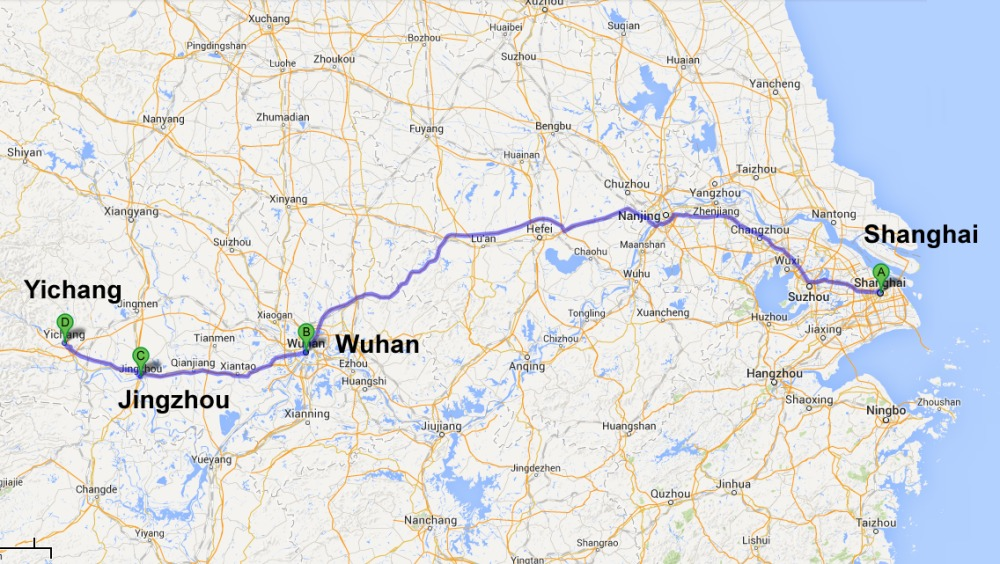 Shanghai to Wuhan by Air, Wuhan to Yichang by Coach, Stop at Jingzhou
