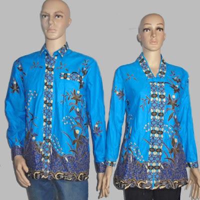 Seragam batik couple blus lengan panjang [1239-biru]