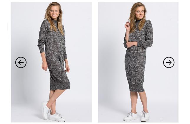 Rochie lunga causal gri cu negru cu maneci lungi la moda ieftina