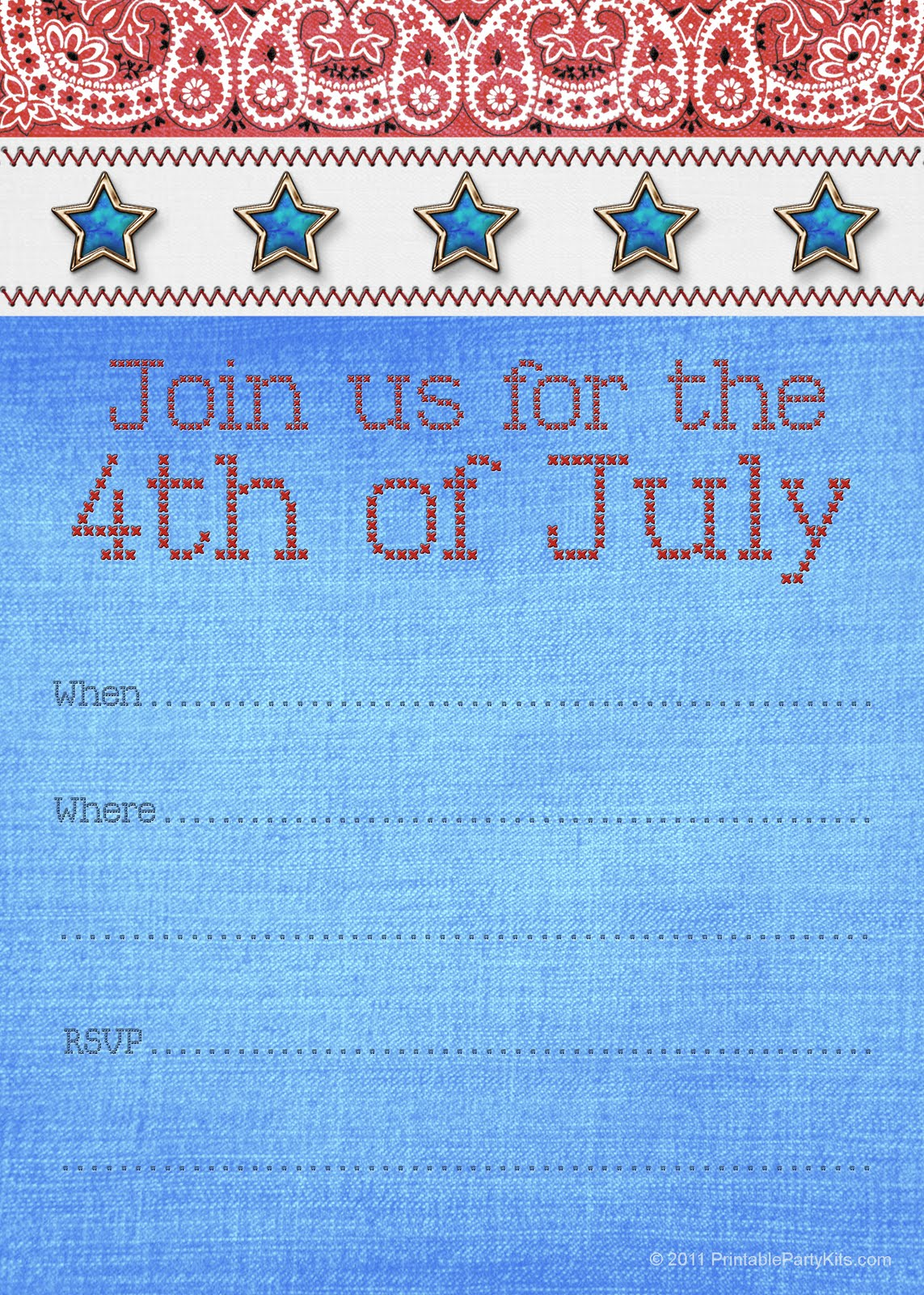 Free Printable Party Invitations: Fourth of July