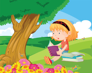 Clipart image of a girl reading under a tree in a garden