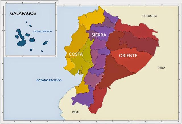 mapa ecuador regiones