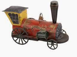 Una locomotora vieja de  juguete