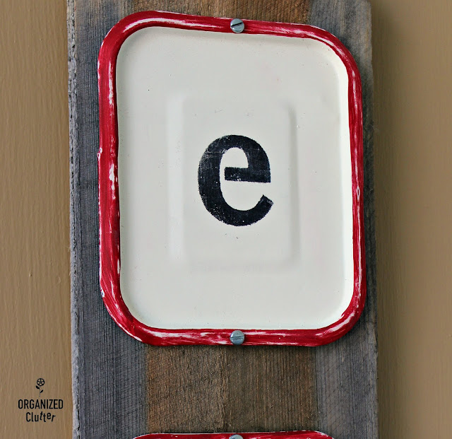 Upcycled Metal Garage Sale Plaques to Rustic EAT Sign