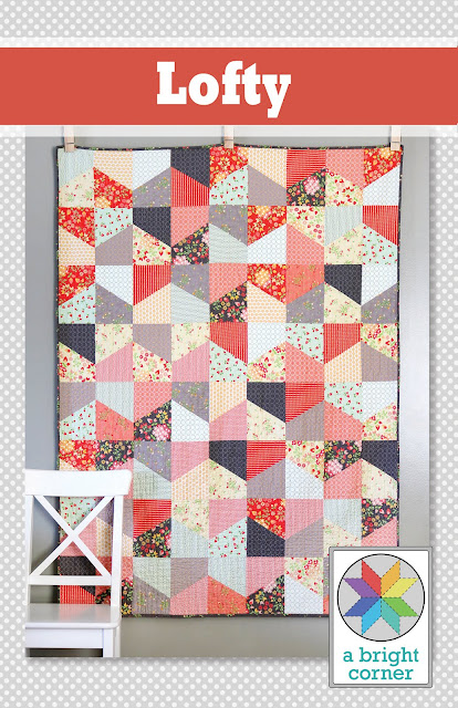 Lofty quilt pattern from Andy of A Bright Corner.  Fat quarter friendly pattern in four sizes!