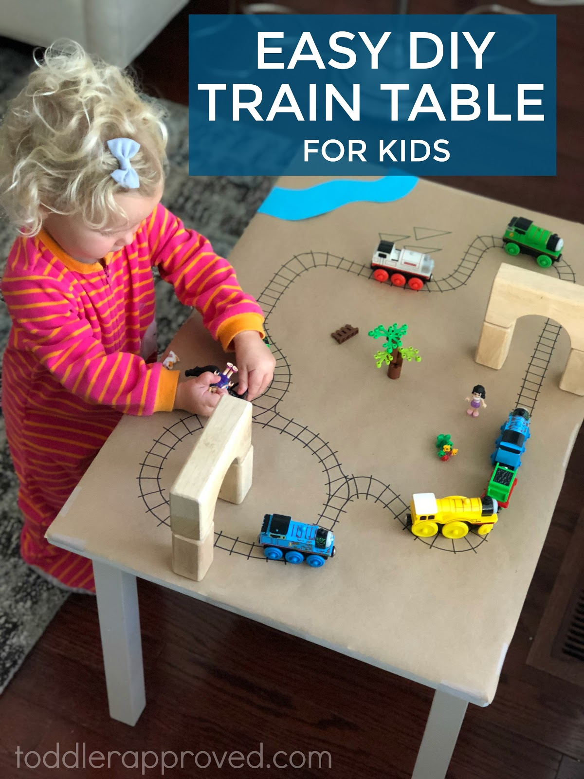 I Didnu0027t Feel Like Getting A New One, So We Made This Simple Homemade Train  Table For My Daughter To Use. It Has Been A Hit!
