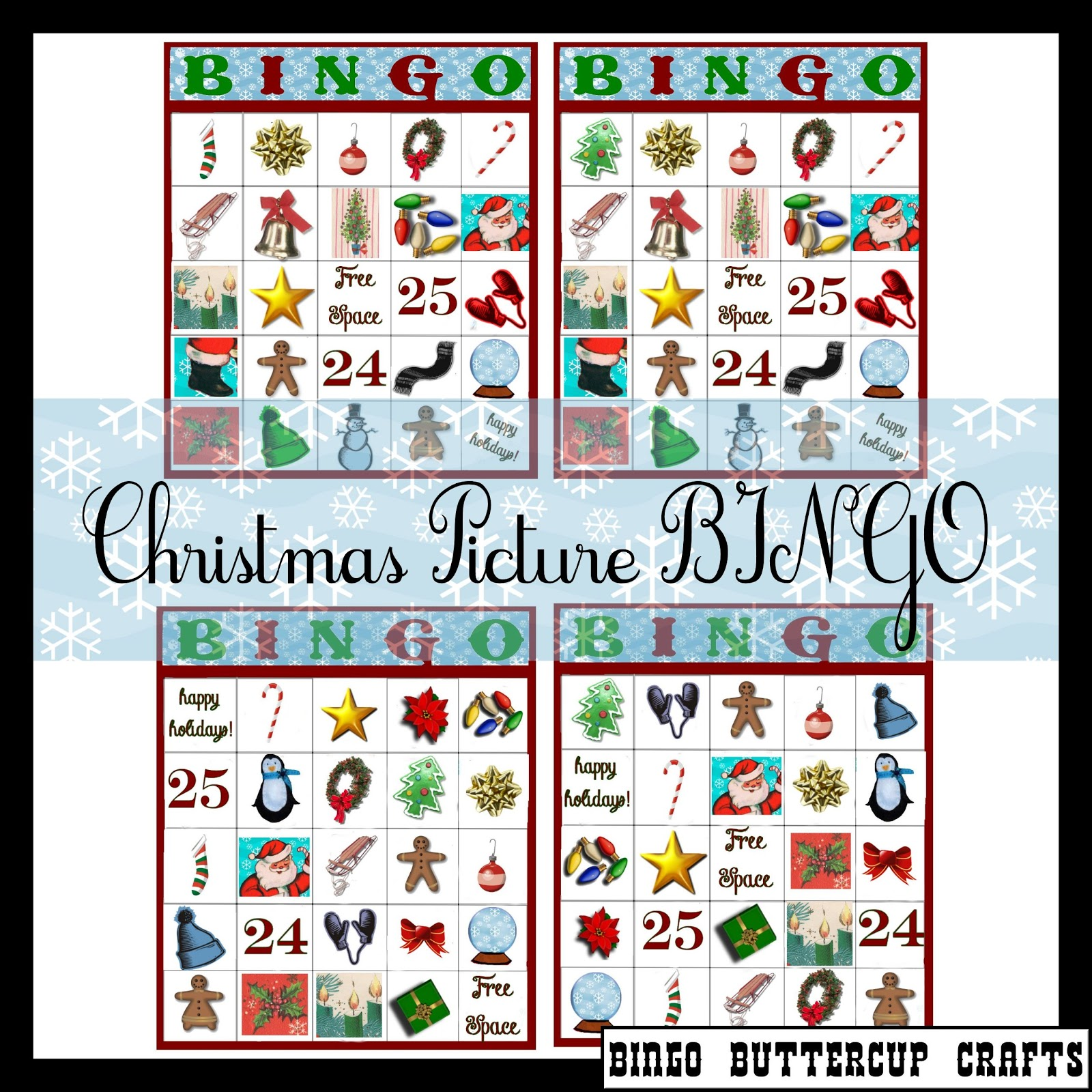 Bingo Buttercup Designs: Free Christmas Picture BINGO (Set