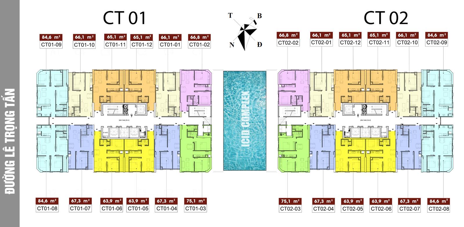 Mặt bằng chung cư ICID Complex Lê Trọng Tấn