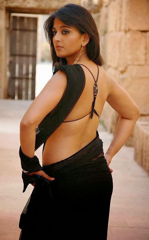 anushka shetty hot cleavage navel transparent black saree