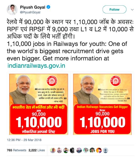 Railway में L-1 और ल-2 में 10,000 से ज्यादा नौकरियां।