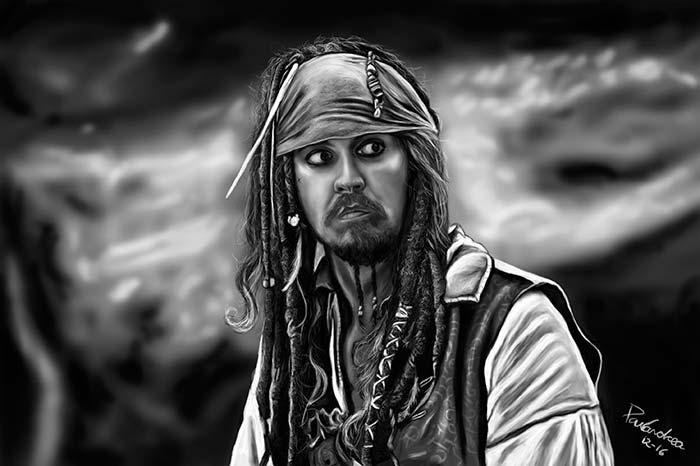 Ilustración, Sparrow asustado de Paula Rojas