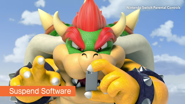 Nintendo Switch Parental Controls Bowser Koopa smartphone app holding fingers Suspend Software sky background