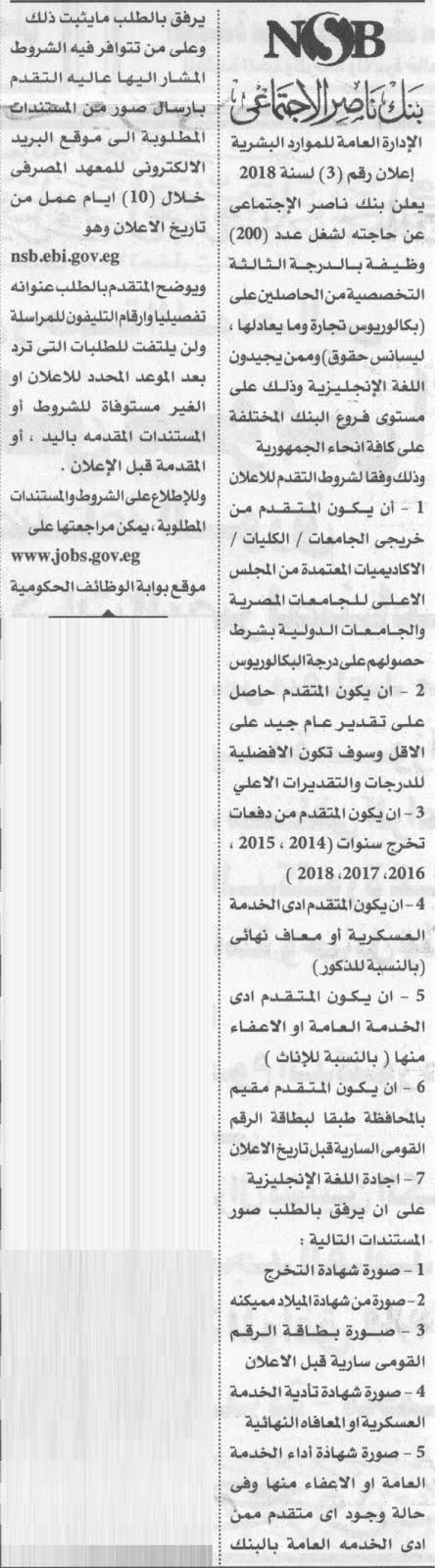 بنك ناصر الاجتماعى يعلن عن وظائف خالية على مستوى الجمهورية