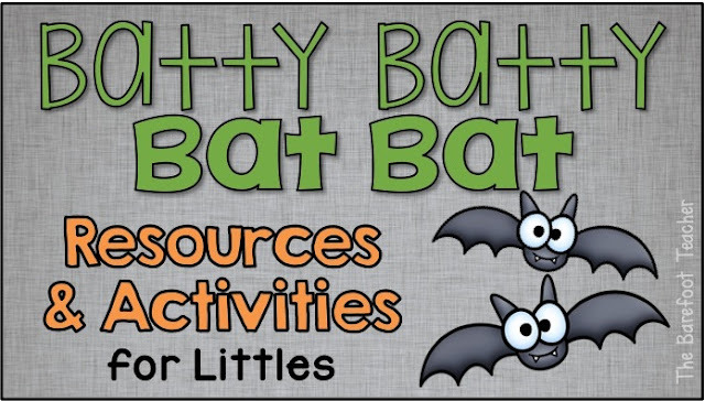 Get ready for Halloween and nocturnal animals with bat themed activities for preschool, kindergarten, and first grade kids! A free printable is included! You'll find book suggestions, math and literacy resources. Crafts, and videos, and more! #halloween #halloweencrafts #halloweenactivities #nocturnalanimals #bats #kindergarten #firstgrade #preschool #holiday #literacy