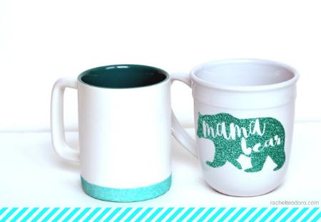 Glitter Coffee Mug Tutorial 2 ways by Rachel Teodoro