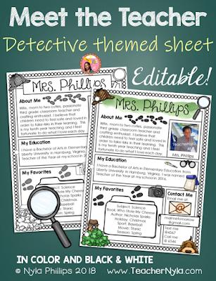 Meet the Teacher Editable Letter Template detective Theme