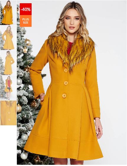 Palton femei mustariu elegant in clos din lana cu insertii de blana detasabile