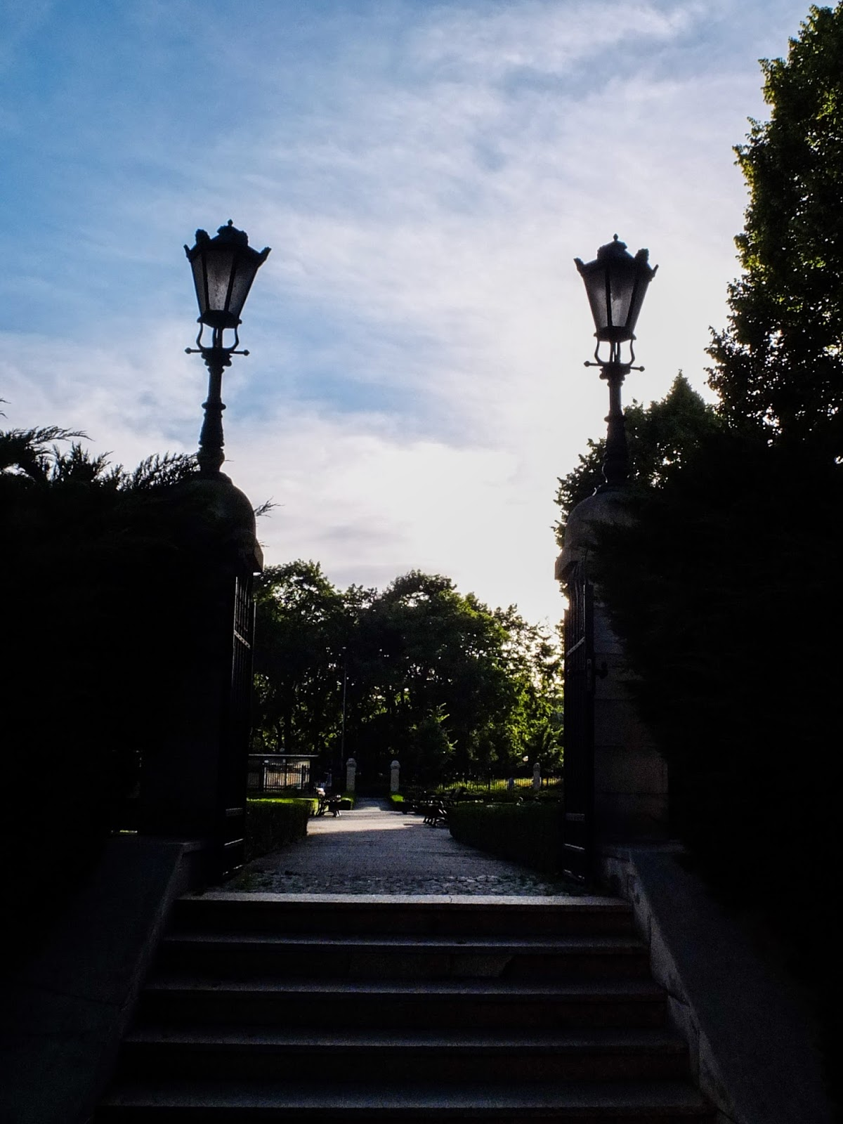Steps and entrance to the garden on castle grounds in Poznań.
