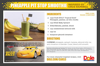 """Pineapple Pit Stop Smoothie"" cars 3 dole"