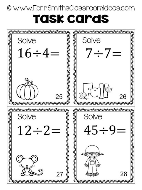 Fall Multiplication and Division Task Cards and Printables