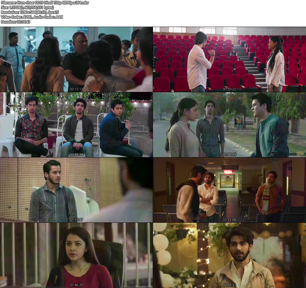 Hum chaar 2019 Hindi 720p HDRip x264 | 480p 300MB | 100MB HEVC Screenshot