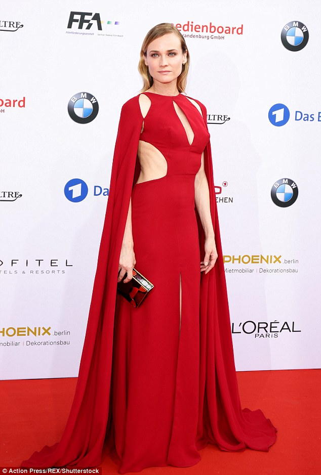 Diane Kruger stuns in a red cutout dress at the German Film Awards 2016