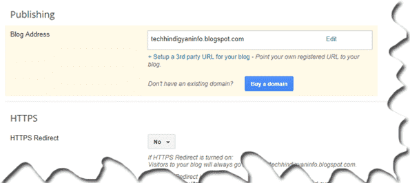 Click On Set up a third party URL for your blog