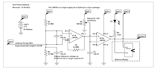 Cell phone detector using lm358 circuit diagram requirements cell phone detector using lm358 ccuart Images