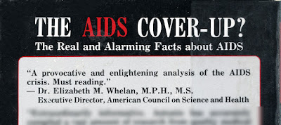 """Elizabeth Whelan endorsement on back cover of """"The AIDS Cover-Up"""""""