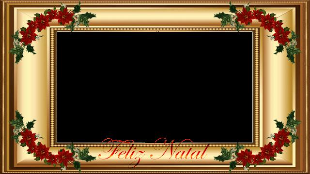 Natal -Moldura dourada 4 FHD com Feliz Natal