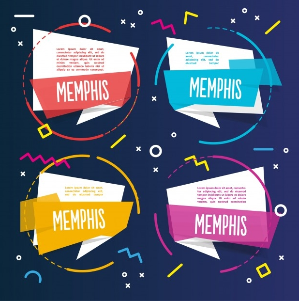 Here Is Four Colorful Memphis Templates