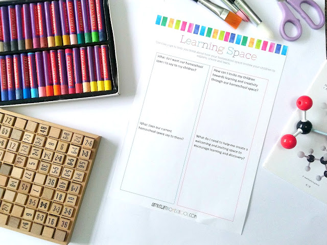 free printable worksheet to help you design your homeschool space